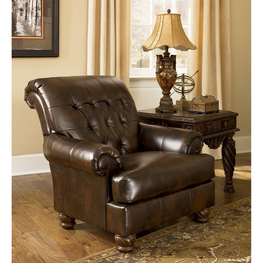 Signature Design by Ashley Fresco Casual Antique Brown Polyurethane Chesterfield Chair