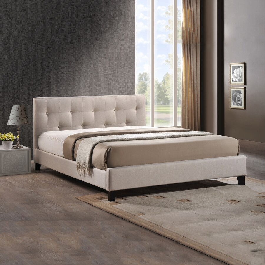 Baxton Studio Annette Light Beige Full Platform Bed