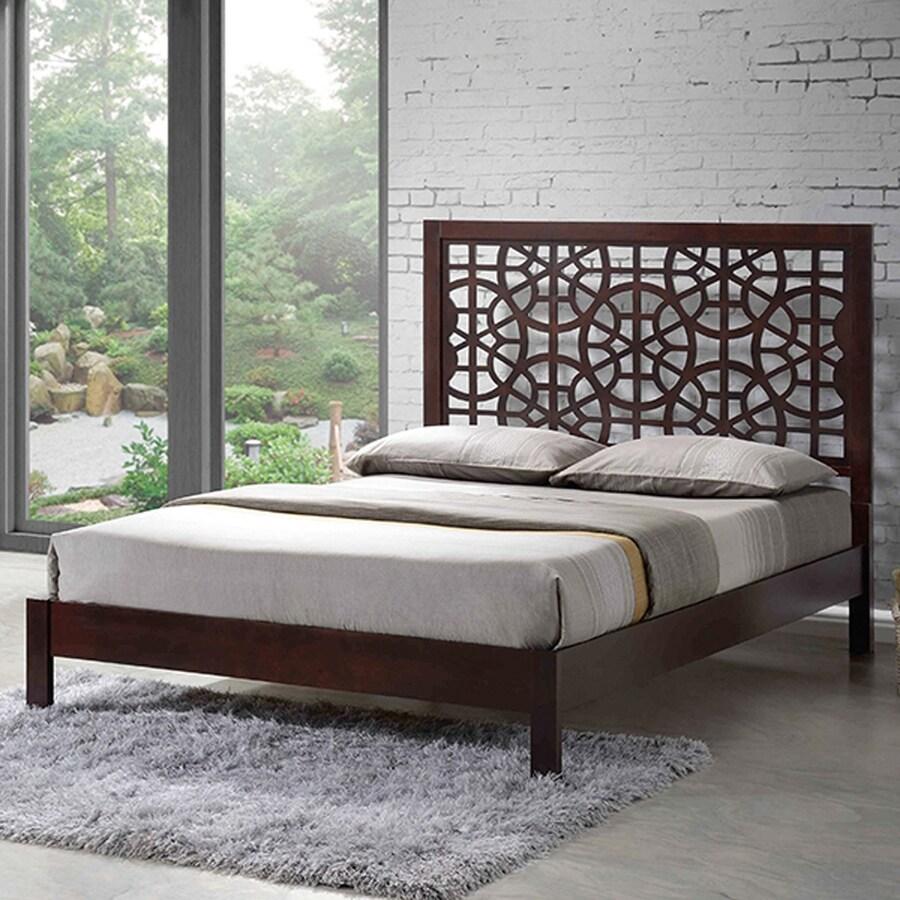 Baxton Studio Sakuro Dark Brown Queen Platform Bed