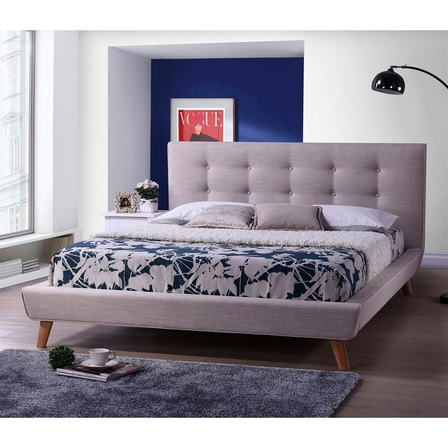 Baxton Studio Jonesy Beige Mix Queen Platform Bed