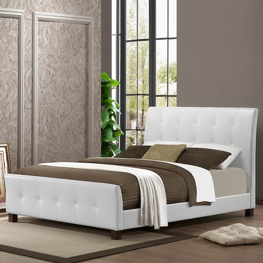Baxton Studio Amara White Queen Panel Bed