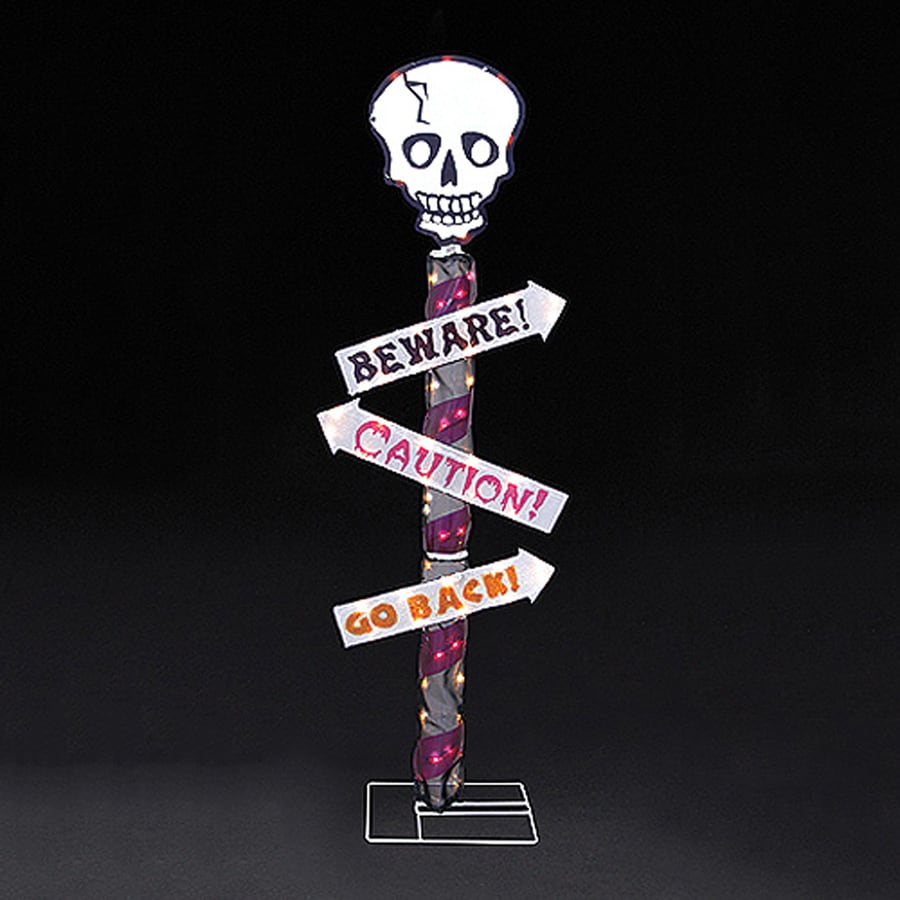 Northlight Pre-Lit Beware! Caution! Go Back! Skull Sign with White Incandescent Lights