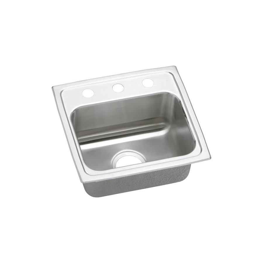Elkay Lustertone 19-in x 19.5-in Stainless Steel Single-Basin Drop-In 1-Hole Commercial/Residential Kitchen Sink