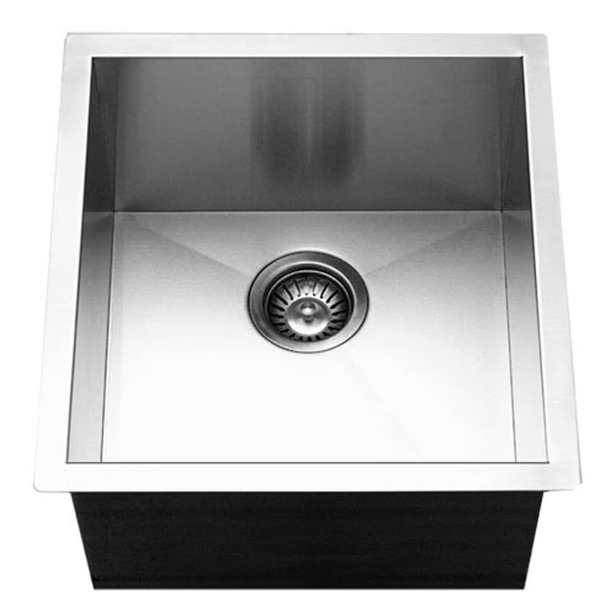 HOUZER Contempo 17-in x 18-in Lustrous Satin Single-Basin Stainless Steel Undermount Residential Kitchen Sink