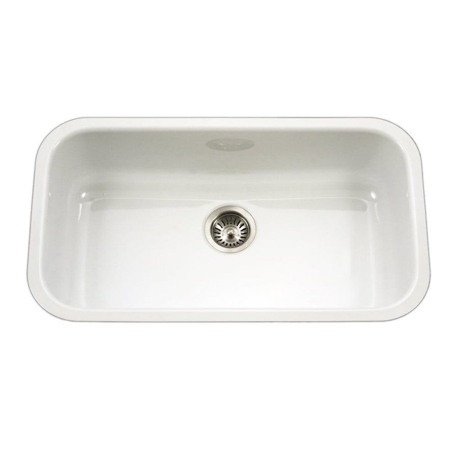 HOUZER Porcela 30.875-in x 15.06-in White Single-Basin Porcelain Undermount Residential Kitchen Sink
