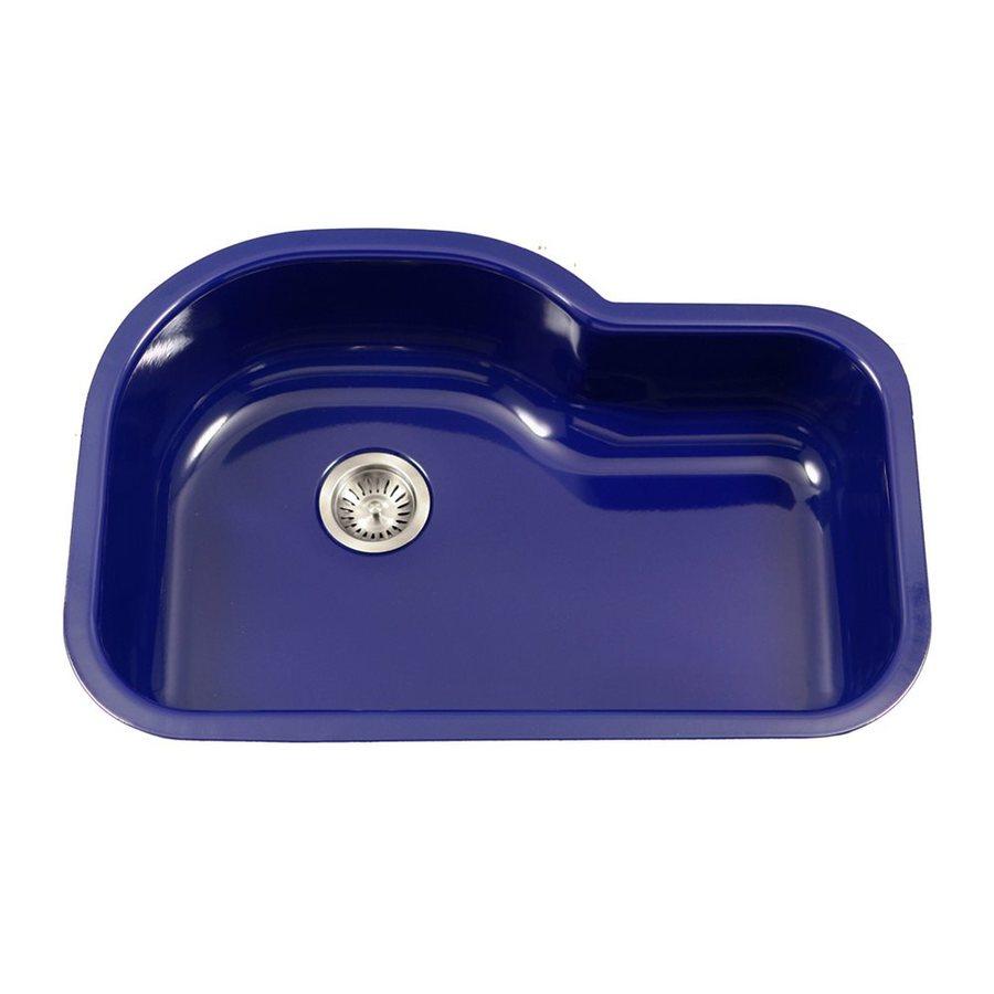HOUZER Porcela 31.25-in x 20.687-in Navy Blue Single-Basin Porcelain Undermount Residential Kitchen Sink