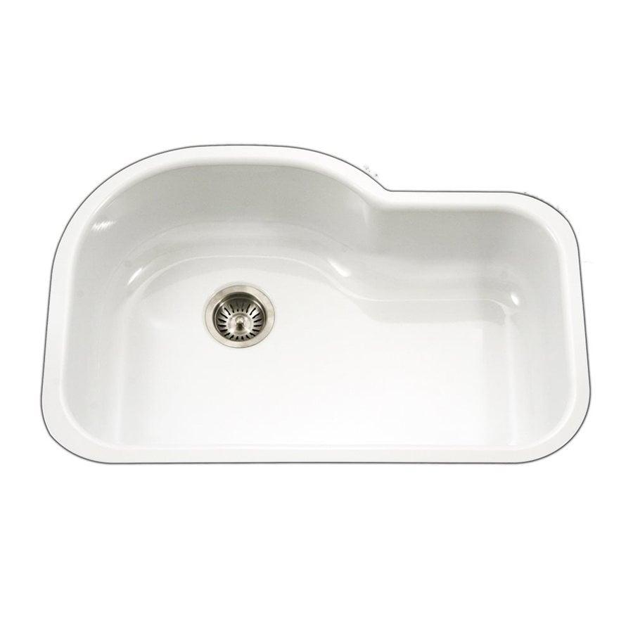 HOUZER Porcela 31.25-in x 20.687-in White Single-Basin Porcelain Undermount Residential Kitchen Sink