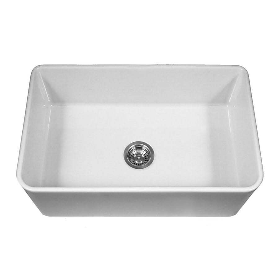 HOUZER Platus 33-in x 20-in White Single-Basin Fireclay Apron Front/Farmhouse Residential Kitchen Sink