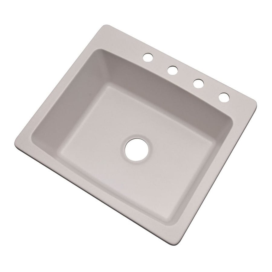 Dekor Waterbury 25-in x 22-in Soft White Single-Basin Composite Drop-In 4-Hole Residential Kitchen Sink