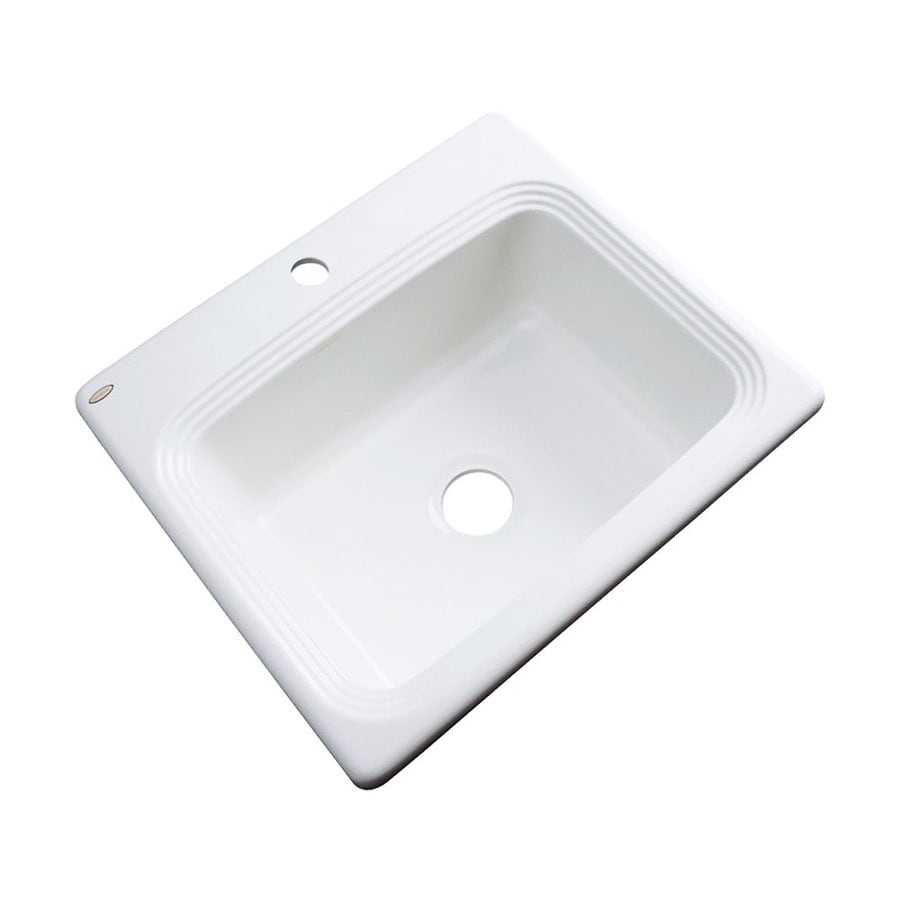 Dekor Chaumont 25-in x 22-in White Single-Basin Acrylic Drop-In 1-Hole Residential Kitchen Sink