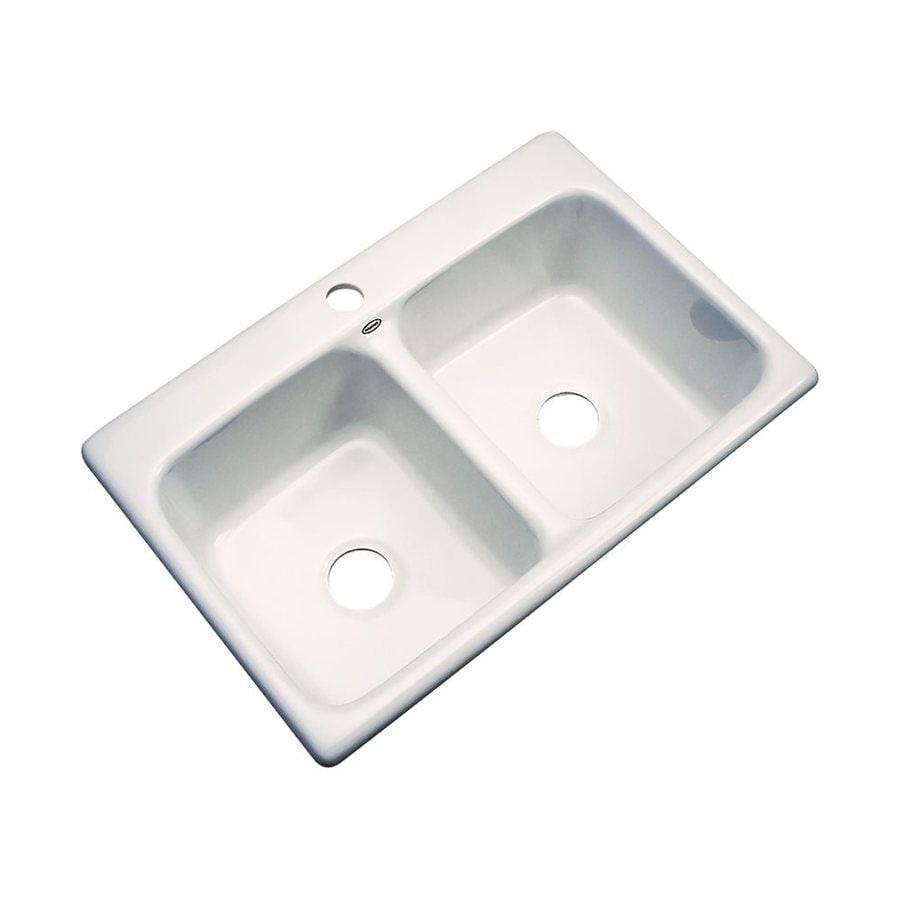 Dekor Westport 33-in x 22-in Bone Double-Basin Acrylic Drop-In 1-Hole Residential Kitchen Sink