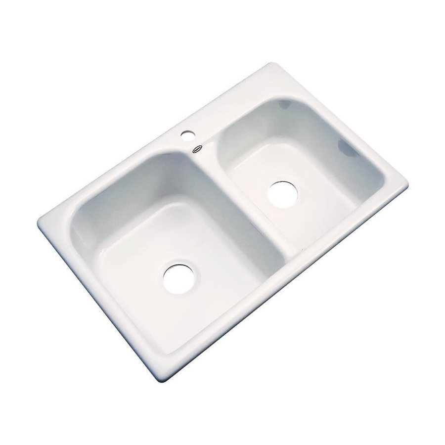 Dekor Thornbury 33-in x 22-in Bone Double-Basin Acrylic Drop-In 1-Hole Residential Kitchen Sink