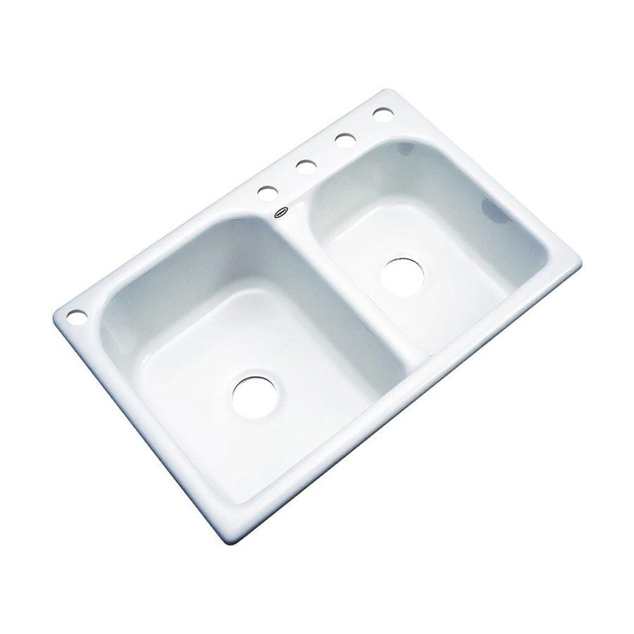 Dekor Thornbury 33-in x 22-in White Double-Basin Acrylic Drop-In 5-Hole Residential Kitchen Sink