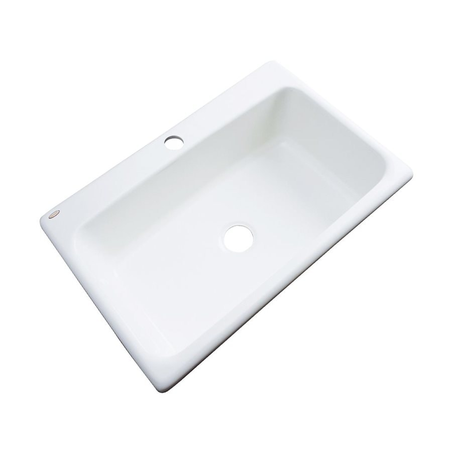 Dekor Brookwood 33-in x 22-in White Single-Basin Acrylic Drop-In 1-Hole Residential Kitchen Sink