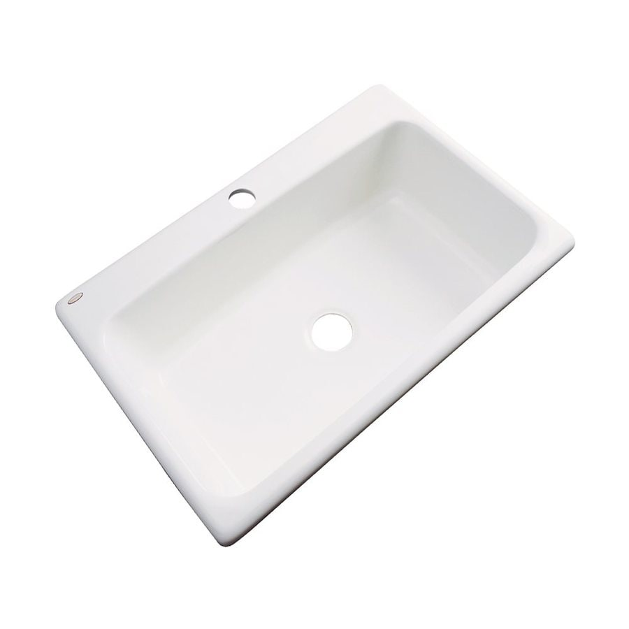 Dekor Brookwood 33-in x 22-in Biscuit Single-Basin Acrylic Drop-In 1-Hole Residential Kitchen Sink