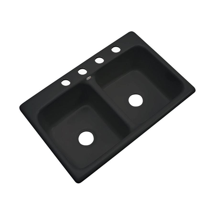 Dekor Brookwood 33-in x 22-in Black Single-Basin Acrylic Drop-In 2-Hole Residential Kitchen Sink