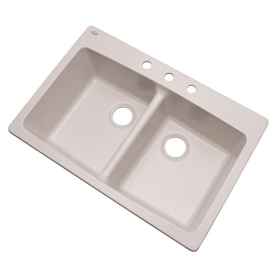 Dekor Westwood 33-in x 22-in Soft White Double-Basin Composite Drop-In 3-Hole Residential Kitchen Sink