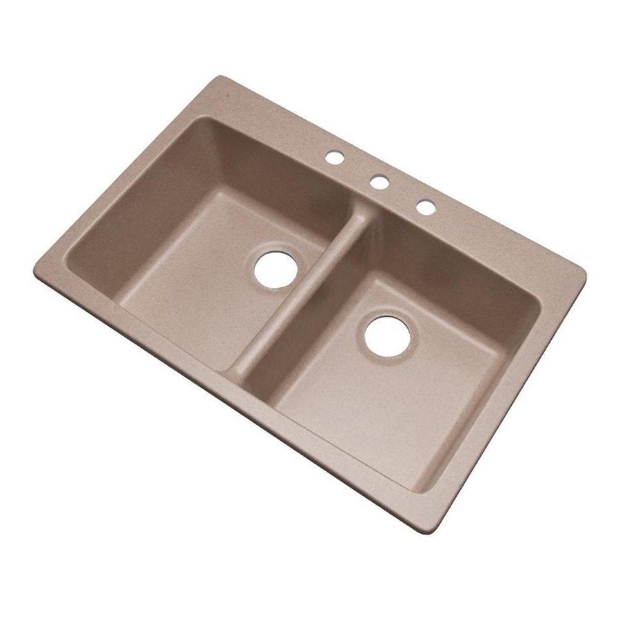 Dekor Westwood 33-in x 22-in Desert Sand Double-Basin Composite Drop-In 3-Hole Residential Kitchen Sink