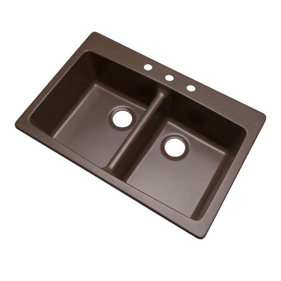 Dekor Westwood 33-in x 22-in Mocha Double-Basin Composite Drop-In 3-Hole Residential Kitchen Sink