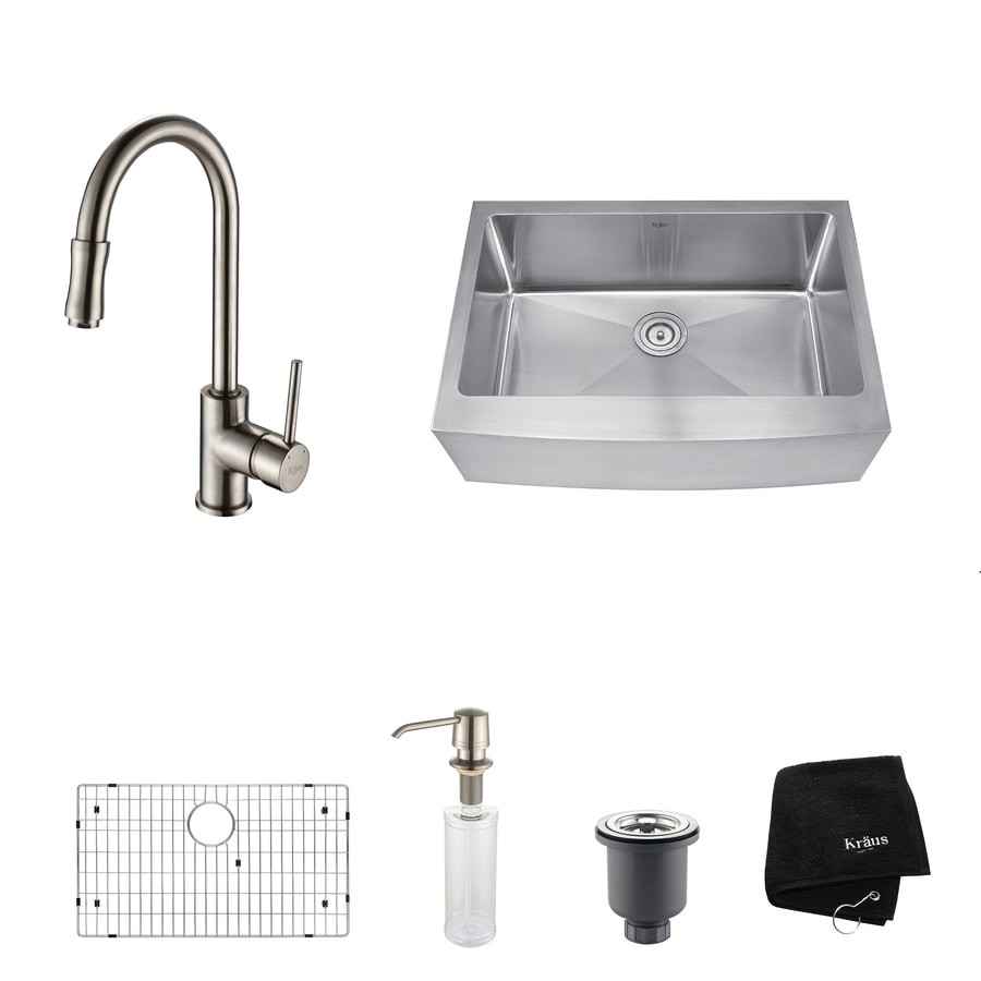 Kraus 20.75-in x 29.75-in Satin Nickel Single-Basin Stainless Steel Apron Front/Farmhouse Residential Kitchen Sink All-in-One Kit