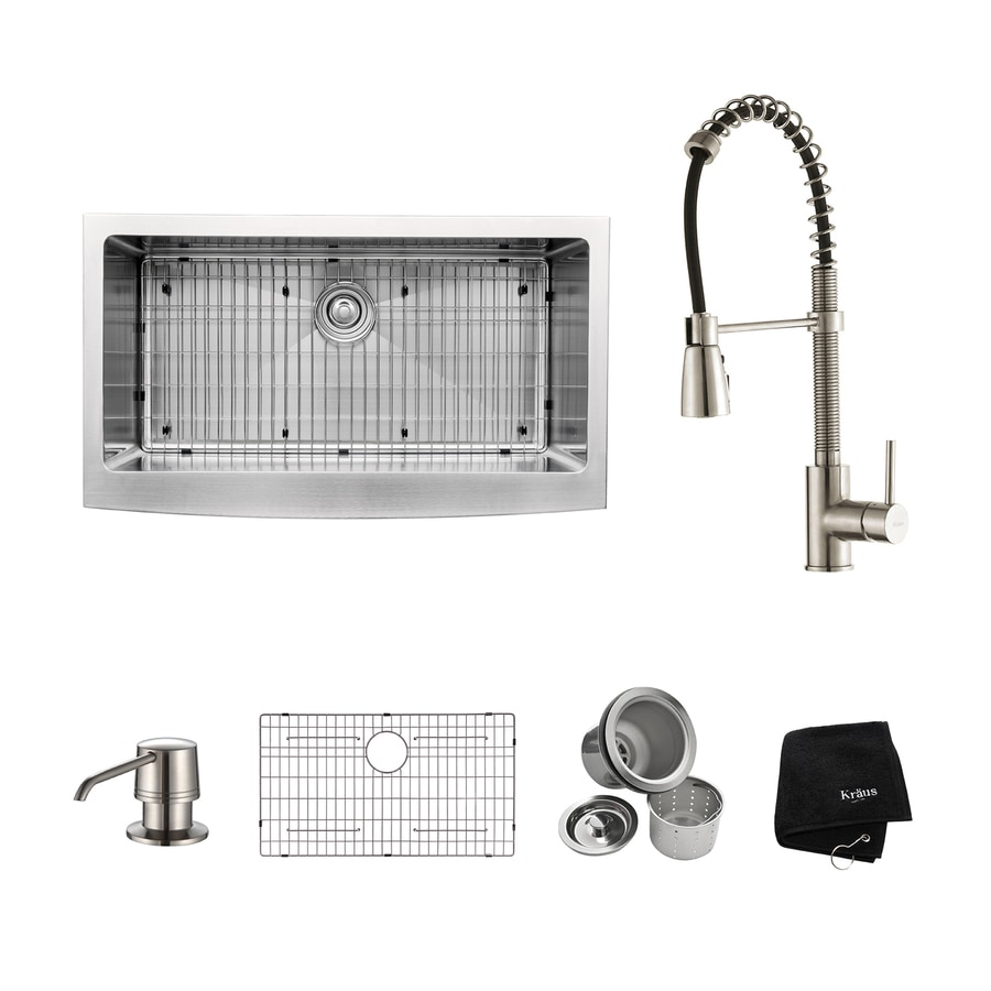 Kraus 35.875-in x 20.75-in Stainless Steel Single-Basin Apron Front/Farmhouse Residential Kitchen Sink All-in-One Kit