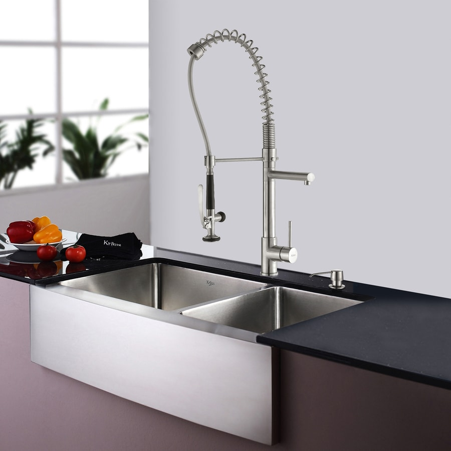 Kraus 35.875-in x 20.75-in Stainless Steel Double-Basin Apron Front/Farmhouse Residential Kitchen Sink All-in-One Kit