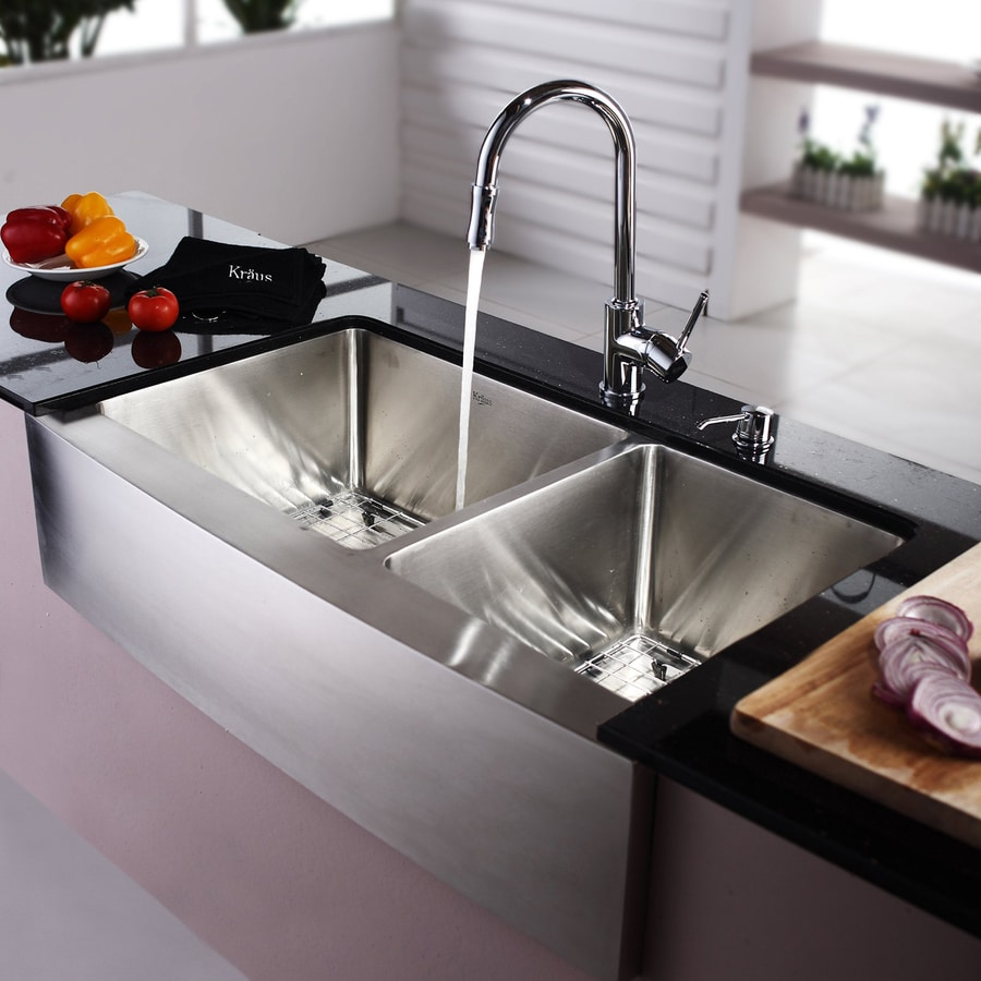Shop Kraus 35.875-in X 20.75-in Chrome Double-Basin