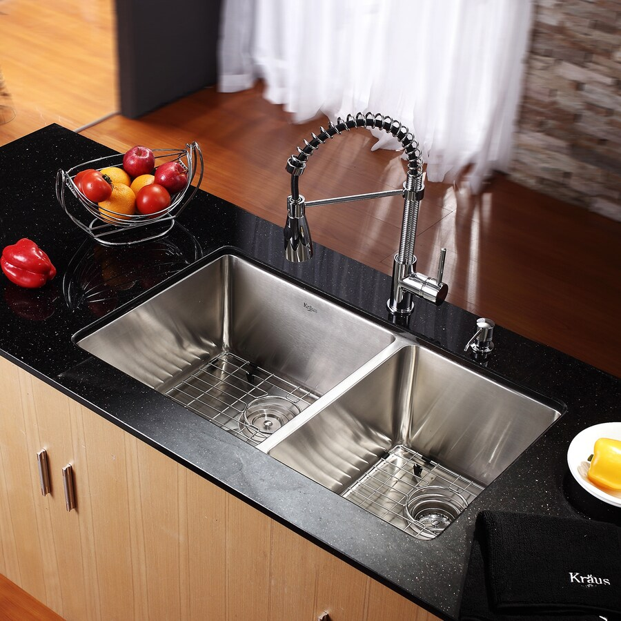 Kraus 32.75-in x 19-in Chrome Double-Basin Stainless Steel Undermount  Commercial/Residential Kitchen Sink All-in-One Kit
