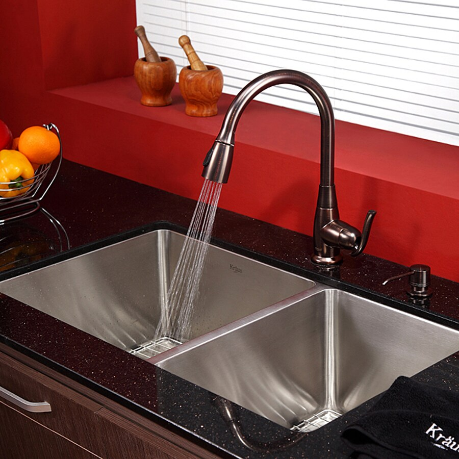 Kraus 32.75-in x 19-in Stainless Steel Double-Basin Undermount Residential Kitchen Sink All-in-One Kit