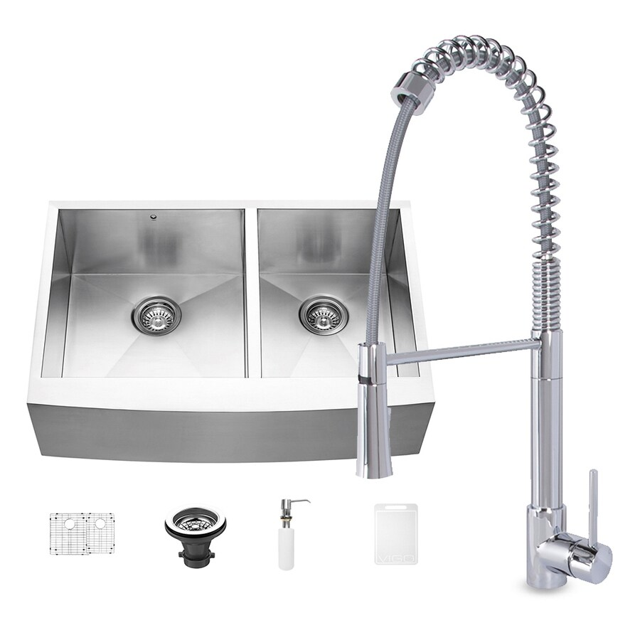 VIGO 33-in x 22.25-in Chrome Double-Basin Stainless Steel Undermount Residential Kitchen Sink All-in-One Kit