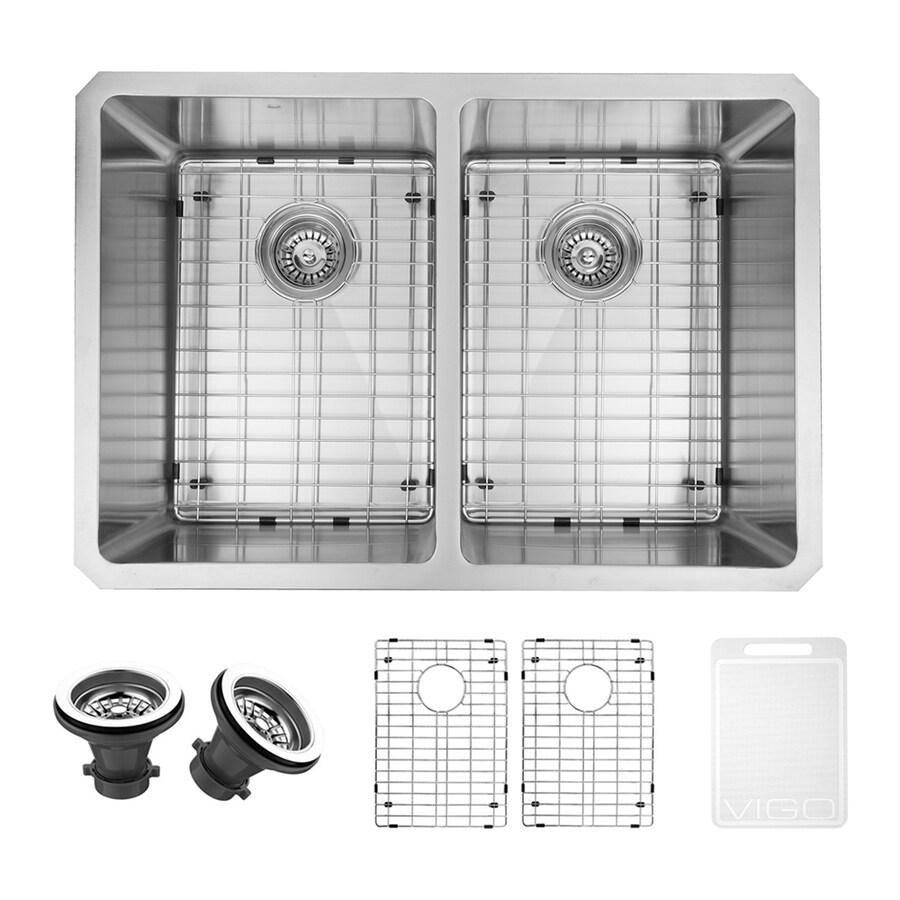 VIGO 29-in x 20-in Stainless Steel Double-Basin Undermount Residential Kitchen Sink