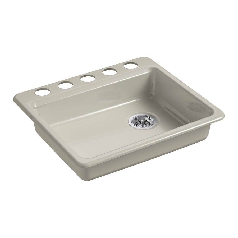 KOHLER Riverby 22-in x 25-in Sandbar Single-Basin Cast Iron Undermount 5-Hole Residential Kitchen Sink