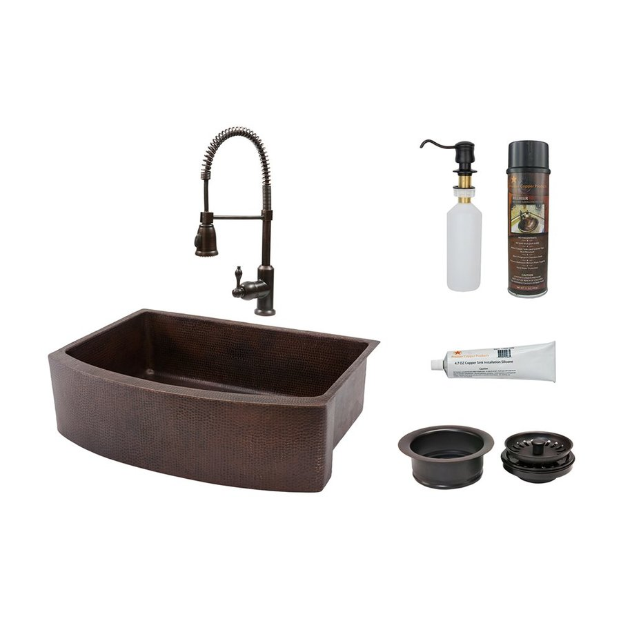 Premier Copper Products 33-in x 24-in Oil-Rubbed Bronze Single-Basin Copper Drop-In Residential Kitchen Sink All-in-One Kit