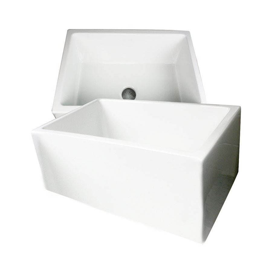 Nantucket Cape 24-in x 18-in White Single-Basin Fireclay Apron Front/Farmhouse Residential Kitchen Sink