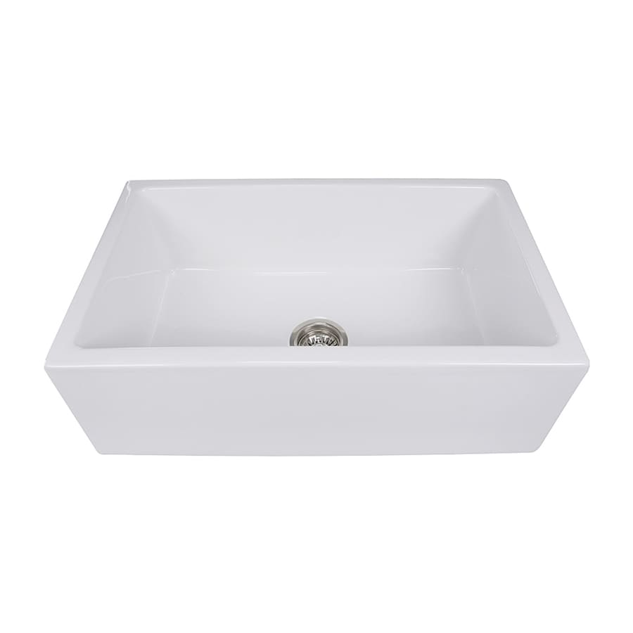 Nantucket Cape 30-in x 18-in White Single-Basin Fireclay Apron Front/Farmhouse Residential Kitchen Sink
