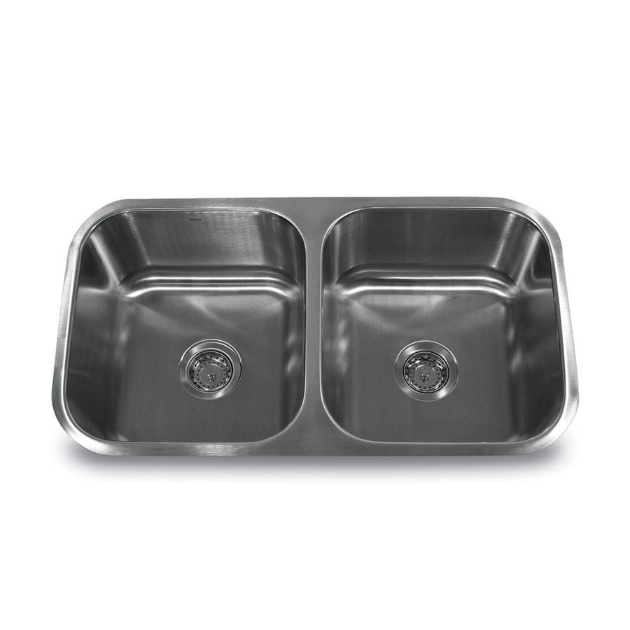 Nantucket Quidnet 31.5-in x 17.94-in Brushed Satin Double-Basin Stainless Steel Undermount Residential Kitchen Sink