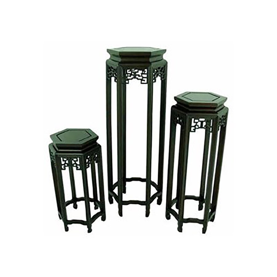 Oriental Furniture 3-Piece Dark Rosewood Accent Table Set