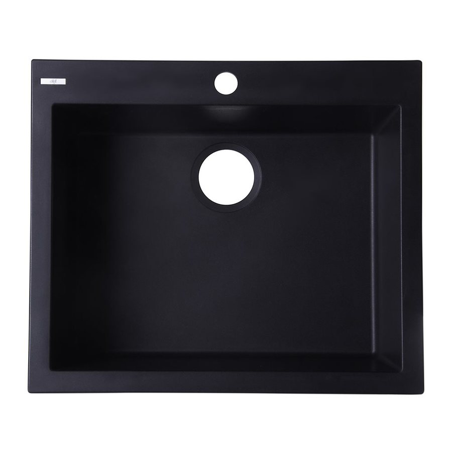 Alfi 23.625-in x 20.125-in Black Single-Basin Granite Drop-In 1-Hole Residential Kitchen Sink