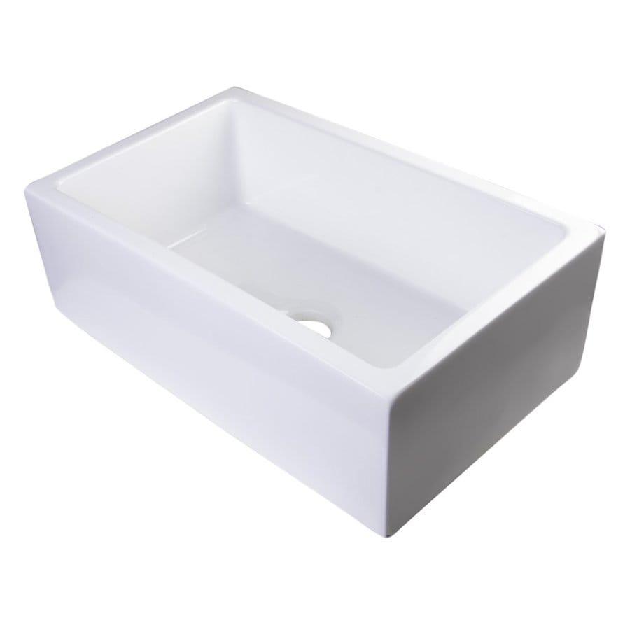 Alfi 30-in x 18.125-in White Single-Basin Fireclay Apron Front/Farmhouse Residential Kitchen Sink