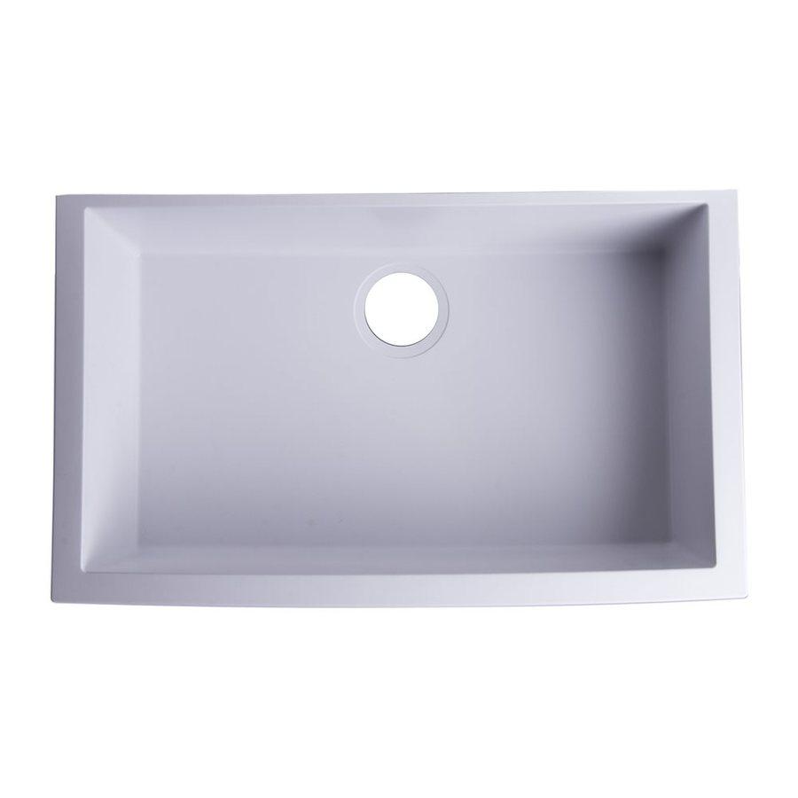 Alfi 30-in x 17.125-in White Single-Basin Granite Drop-In Residential Kitchen Sink