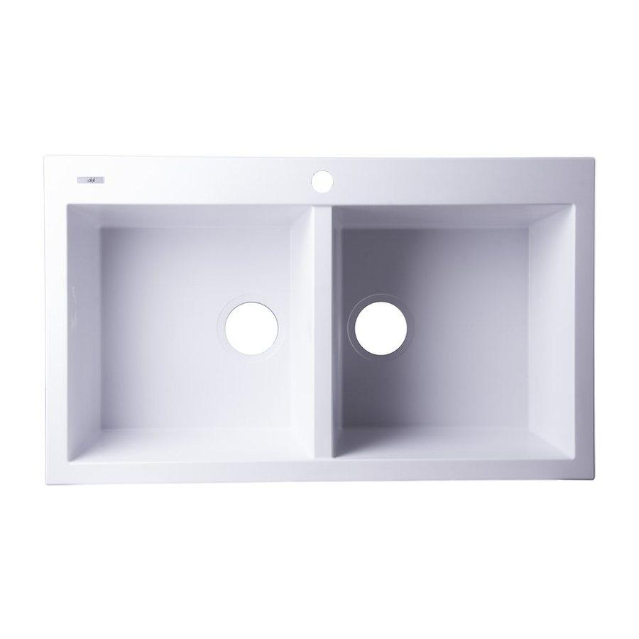 Alfi 34-in x 20.125-in White Double-Basin Granite Drop-In 1-Hole Residential Kitchen Sink