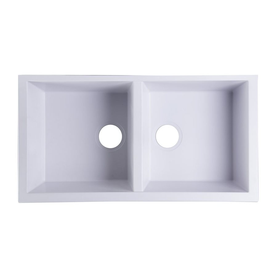 Alfi 34-in x 17.75-in White Double-Basin Granite Undermount Residential Kitchen Sink
