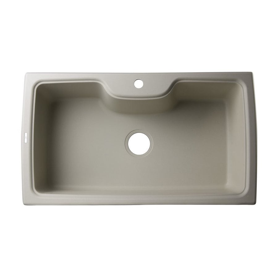 Alfi 34.625-in x 19.66-in Biscuit Single-Basin Granite Drop-In 1-Hole Residential Kitchen Sink