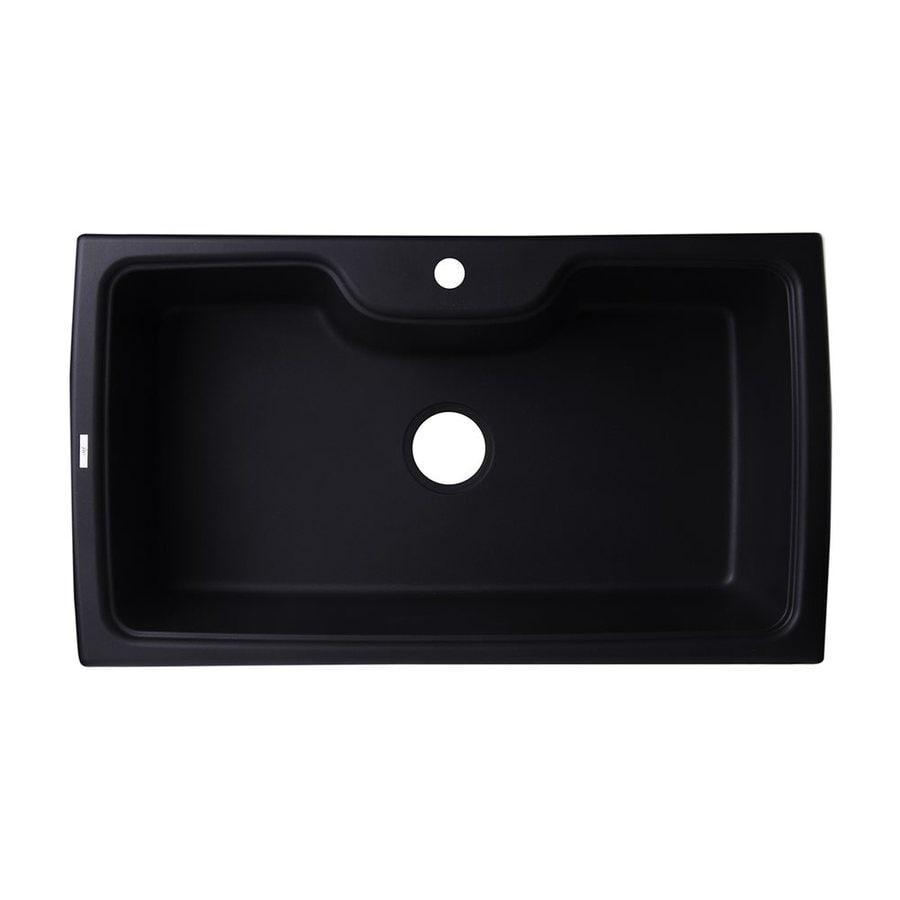 Shop ALFI brand 19.66-in x 34.625-in Black Single-Basin Granite ...
