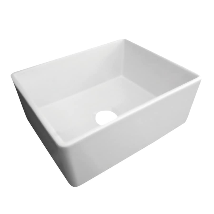 Alfi 20-in x 26-in White Single-Basin Fireclay Apron Front/Farmhouse Residential Kitchen Sink