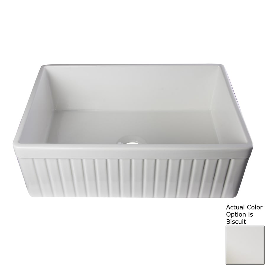 Alfi 29.88-in x 19.75-in Biscuit Single-Basin Fireclay Apron Front/Farmhouse Residential Kitchen Sink