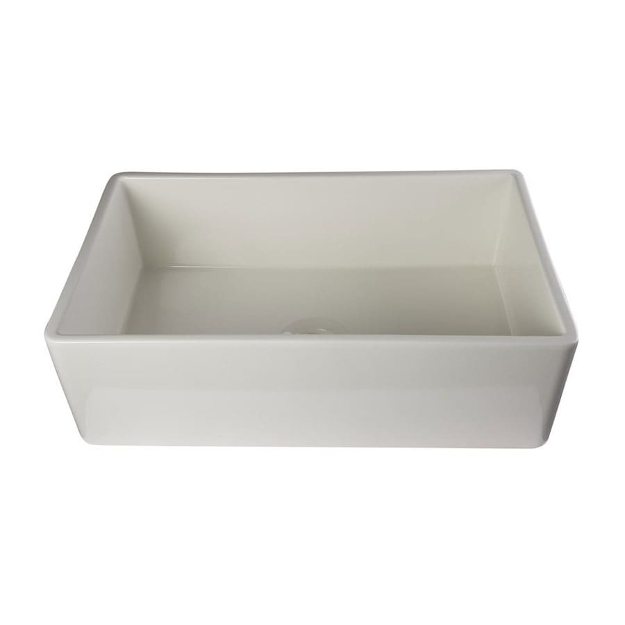 Shop Alfi 20-in x 33-in Biscuit Single-Basin Fireclay Standard (9-in ...