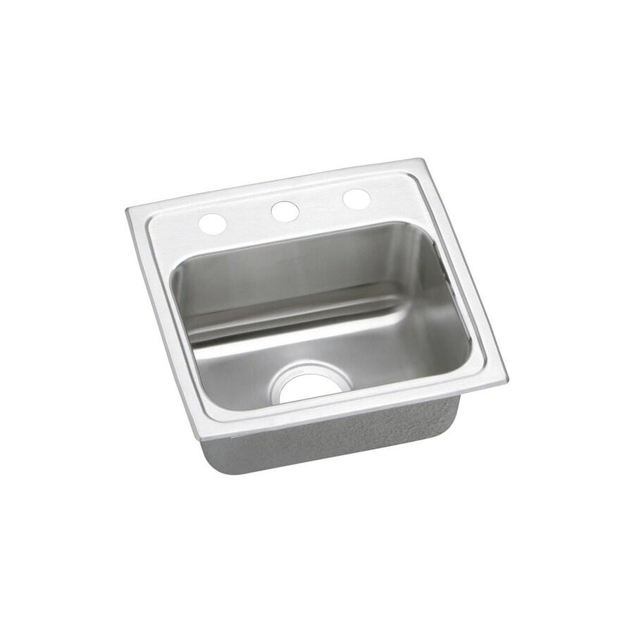 Elkay Lustertone 17-in x 16-in Stainless Steel Single-Basin Drop-In 3-Hole Commercial/Residential Kitchen Sink