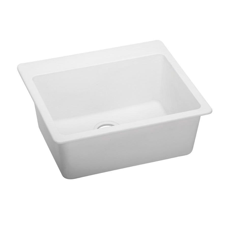 Elkay Gourmet 25-in x 22-in White Single-Basin Quartz Drop-In Commercial/Residential Kitchen Sink