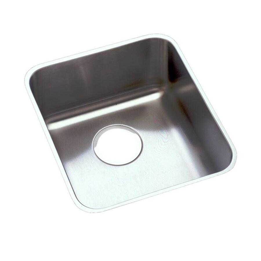 Elkay Lustertone 16-in x 16-in Stainless Steel Single-Basin Undermount Commercial/Residential Kitchen Sink